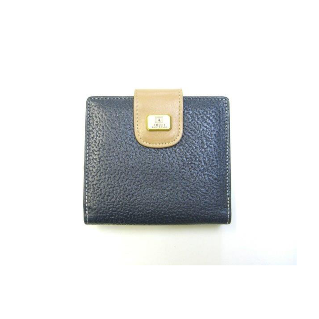 Kangaroo & Cow Napa 4 Card+ Womens Wallet - Navy & Beige