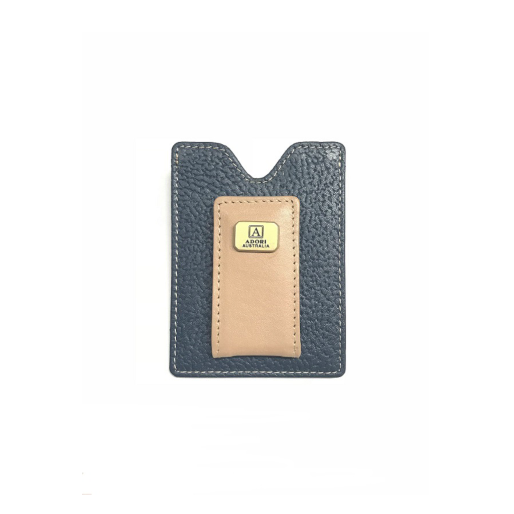 Magnetic Money Clip & Card Case - Kangaroo & Cow Leather - Navy & Beige