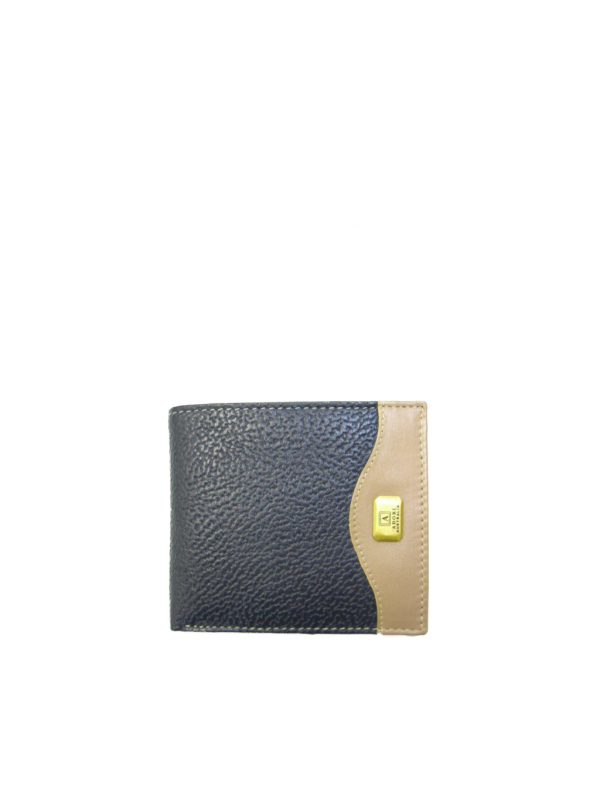 Kangaroo & Cow Napa 8 Card+ Mens Wallet - Navy & Beige