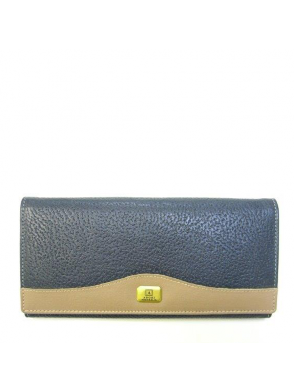 Kangaroo & Cow Napa 14 Card+ Womens Long Wallet - Navy & Beige