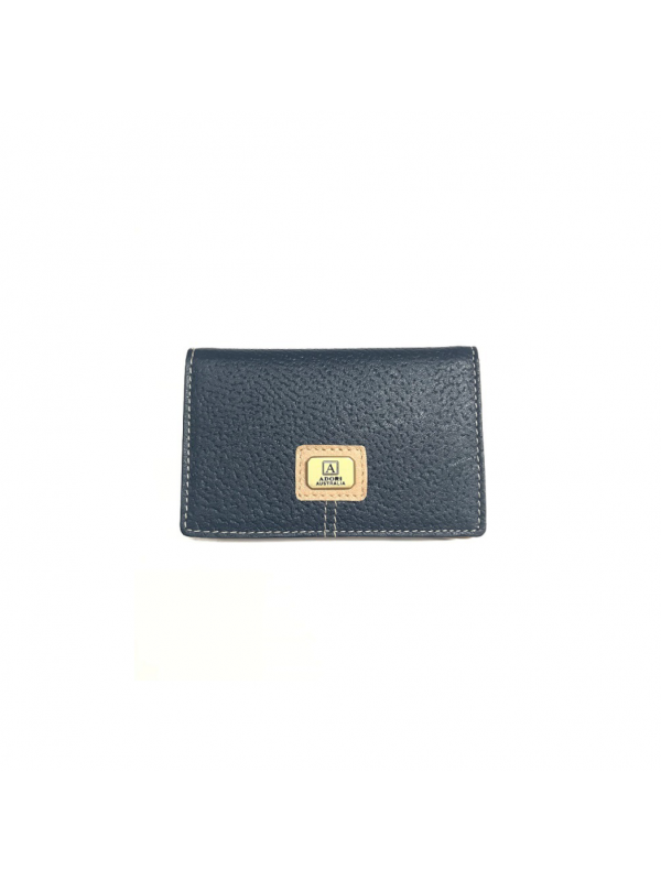 Kangaroo & Cow Leather Card Holder - Navy & Beige