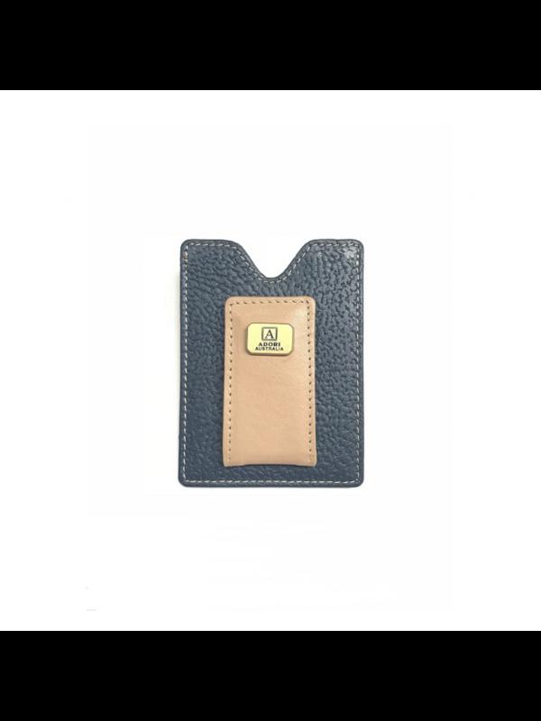 Adori Magnetic Money Clip & Card Case - Kangaroo & Cow Leather - Navy & Beige