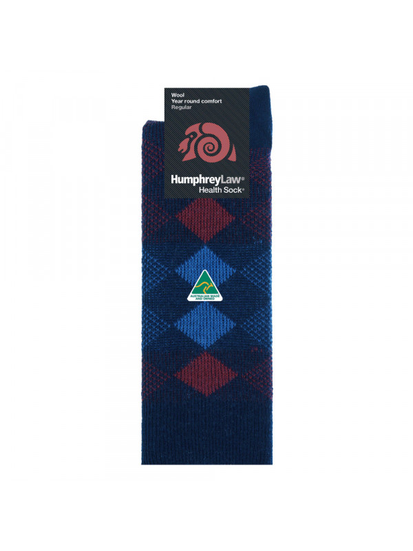 95% Merino Jacquard Patterned Health Sock® - Small Diamond