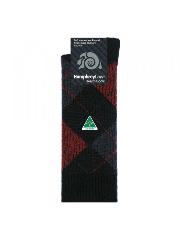 Wool/Polyester Argyle Patterned Men's Health Sock®