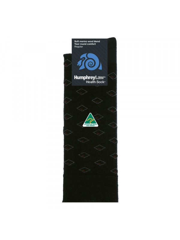 60% Fine Merino Wool Patterned Men's Health Sock®  - Diamond Eye