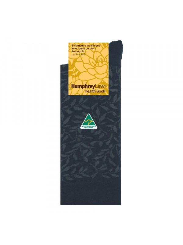 60% Fine Merino Wool Patterned Women's' Health Sock® Leaves