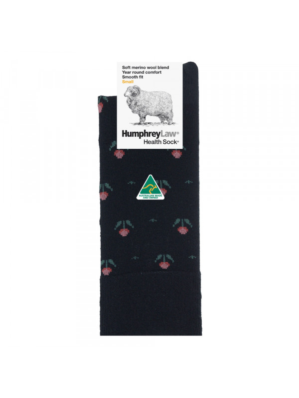 60% Fine Merino Wool Patterned Women's' Health Sock® - Tulips