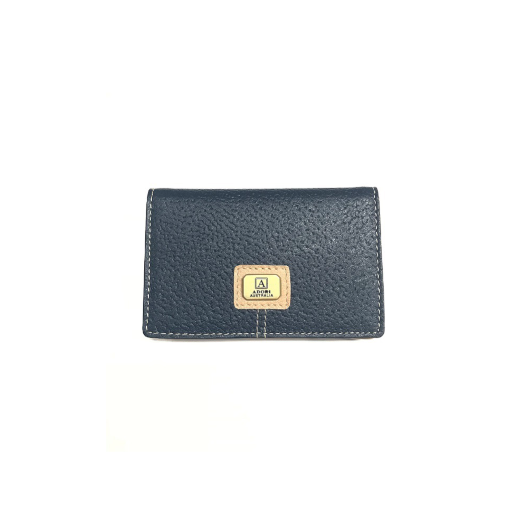 Kangaroo & Cow Leather Card Holder - Navy & Beige