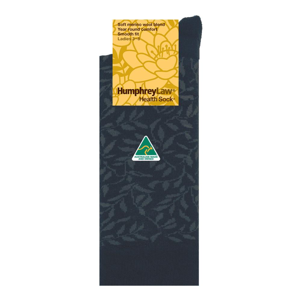 60% Fine Merino Wool Patterned Women's' Health Sock® Leaves