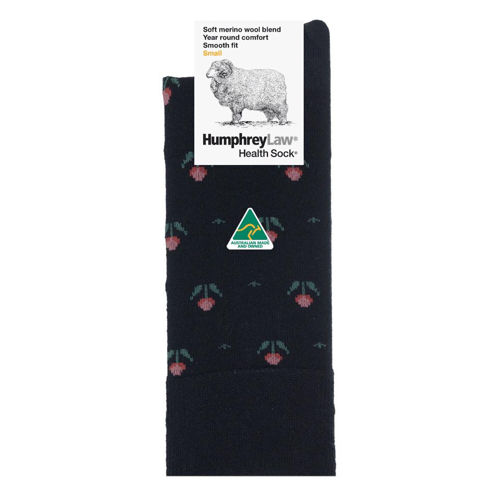 60% Fine Merino Wool Patterned Women's' Health Sock® - Tulips
